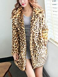 preiswerte -Damen Leopard Aktiv Alltag Pelzmantel,V-Ausschnitt Winter Langärmelige Lang Baumwolle Acryl