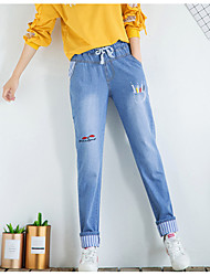 Women's High Rise Micro-elastic Jeans Pants,Casual Solid Winter Fall