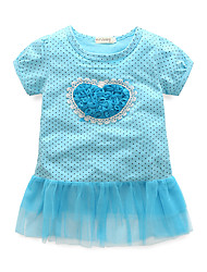 cheap -Girl's Polka Dot Dress,Cotton Short Sleeves Cute Blue