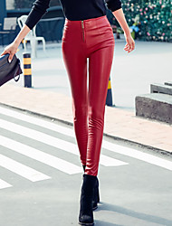 cheap -Women's High Rise Stretchy Tights Pants,Sexy Solid PU Winter Fall