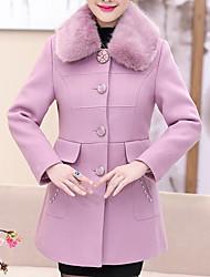Для женщин На каждый день Зима Пальто V-образный вырез,Простой Однотонный Длинная Длинные рукава,Полиэстер,Меховая оторочка