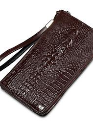 baratos -Homens Bolsas Crocodilo Carteiras Estampa / Ziper para Formal / Escritório e Carreira Azul / Preto / Café
