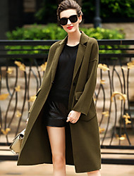 Women's Daily Wear to work Simple Casual Winter Coat,Solid Tailored Collar Long Sleeves Long Wool Pocket