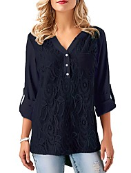 cheap -Women's Daily Vintage Blouse,Solid V Neck ¾ Sleeve Polyester