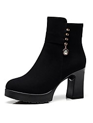 cheap -Women's Shoes Flocking Winter Fur Lining Boots Chunky Heel Round Toe Booties/Ankle Boots Rhinestone for Dress Party & Evening Black Brown