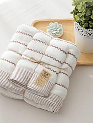 Style frais Ensemble de serviette de bain,Rayures Qualité supérieure Polyester/Coton Serviette