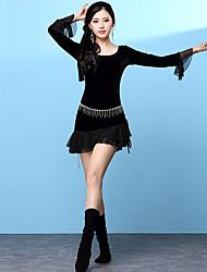 Dança do Ventre Vestidos Mulheres Treino Elastano Renda Manga Comprida Alto Vestidos