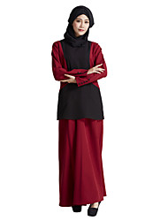 cheap -Women's Daily Wear Going out Casual Boho Street chic Kaftan Dress,Solid Color Block Round Neck Maxi Long Sleeve Linen Polyester Elastane