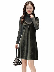cheap -Women's Party Daily A Line Dress,Solid Turtleneck Above Knee Long Sleeves Others Fall High Waist Inelastic Medium