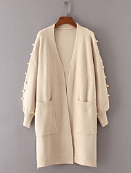 Women's Daily Wear Long Cardigan,Solid V Neck Long Sleeves Acrylic Winter Thick Stretchy