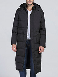 Men's Long Padded CoatSimple Daily Solid-Polyester Long Sleeve