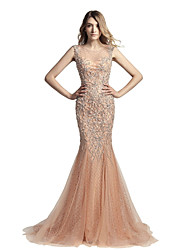 cheap -Mermaid / Trumpet Jewel Neck Court Train Tulle Prom Formal Evening Dress with Beading by Sarahbridal