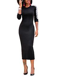 economico -Fodero Vestito Da donna-Casual Con stampe Rotonda Medio Manica lunga Poliestere A vita bassa Media elasticità Medio spessore
