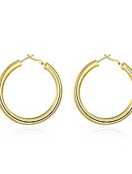 cheap -Women's Hoop Earrings Vintage Sweet Lovely Fashion Hypoallergenic Copper Gold Plated Circle Jewelry Daily Evening Party