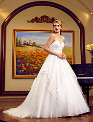 cheap -Ball Gown Spaghetti Straps Cathedral Train Tulle All Over Lace Custom Wedding Dresses with Beading Sashes / Ribbons by LAN TING BRIDE®