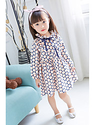 cheap -Girl's Print Dress Spring Fall Cute Casual Blue Yellow