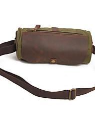 Homem Bolsas Todas as Estações Lona Bolsa de Ombro Ziper para Casual Verde Cinzento Escuro Khaki
