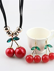 cheap -Women's Imitation Pearl Pearl Lovely Cherry Jewelry Set 1 Necklace / Earrings - Fruit / Sweet Red Drop Earrings / Pendant Necklace For
