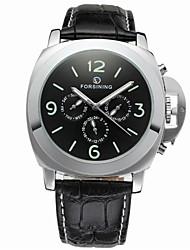 preiswerte -FORSINING Herrn Armbanduhren für den Alltag Modeuhr Armbanduhr Automatikaufzug Echtes Leder Band Freizeit Cool