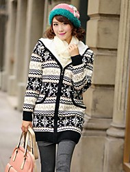 Women's Daily Long Cardigan,Color Block Hooded Long Sleeves Wool Winter Spring/Fall Medium Stretchy