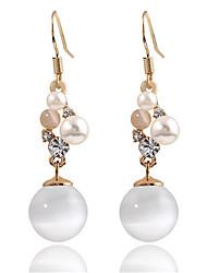 cheap -Women's Synthetic Opal Rhinestone Imitation Pearl 2pcs Drop Earrings - Elegant Sweet Gold Circle Ball Earrings For Wedding Evening Party