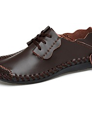 cheap -Men's Shoes Cowhide Spring Summer Comfort Oxfords for Casual Black Light Brown Dark Brown