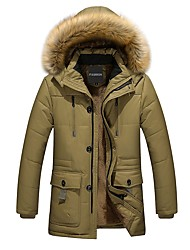 cheap -Men's Padded Coat,Casual Daily Wear Solid-Cotton Long Sleeves