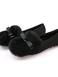 abordables -Femme Chaussures Flocage Automne / Hiver Doublure en fourrure / Confort Ballerines Bout rond Plume pour De plein air Noir / Gris