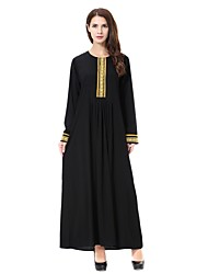 cheap -Women's Party Simple Abaya Jalabiyah Kaftan Dress,Solid Round Neck Midi Long Sleeve Wool Polyester All Season Mid Rise Inelastic Opaque
