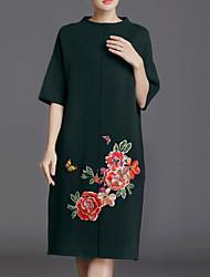 Ample Robe Femme Sortie simple Chinoiserie,Imprimé Col Arrondi Mi-long Manches 3/4 Polyester Hiver Automne Taille Normale Micro-élastique