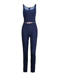 economico -Da donna Shopping Strada Tinta unita Semplice Classico Semplice Sensuale Tuta,magro Jeans Con bretelline Senza maniche Estate Autunno