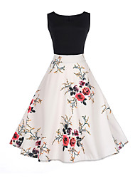 cheap -Women's Going out Flower Slim A Line Dress - Floral Patchwork