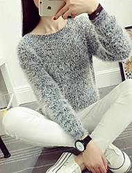 Standard Pullover Da donna-Casual Tinta unita Rotonda Manica lunga Lana d'angora Inverno Autunno Medio spessore Elasticizzato