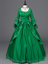 cheap -Victorian Rococo Ladies' One Piece Dress Green Cosplay Satin Long Sleeves Floor Length