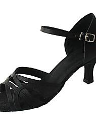 Недорогие -Жен. Обувь для латины Сатин Сандалии / На каблуках Профессиональный стиль Каблуки на заказ Персонализируемая Танцевальная обувь Черный