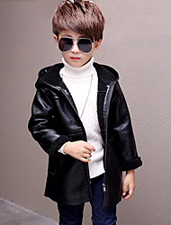 Boys' Solid Jacket & Coat,PU Long Sleeves