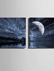 cheap -E-HOME® Stretched LED Canvas Print Art Lake Sky LED Flashing Optical Fiber Print Set of 2