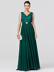 cheap -A-Line Princess V-neck Floor Length Chiffon Formal Evening Dress with Beading Appliques Sash / Ribbon by TS Couture®