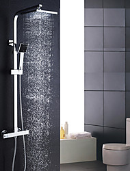 cheap -Modern/Contemporary Shower System Rain Shower Handshower Included Thermostatic Ceramic Valve Two Holes Chrome , Shower Faucet