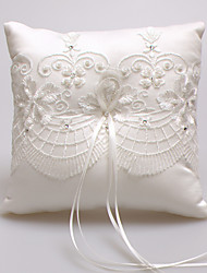 cheap -Satin Lace Beads Silk Ring Pillows Wedding Ceremony