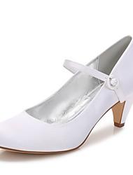Femme Chaussures Satin Printemps Eté Confort Chaussures de mariage Bout rond Paillette Brillante Boucle Ruban Pour Mariage Soirée &
