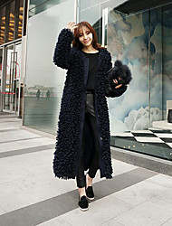 cheap -Women's Daily Sophisticated Winter Fur Coat,Solid Long Sleeves Long Lamb Fur