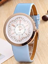 Mulheres Simulado Diamante Relógio Chinês Quartzo Couro Banda Branco Azul Roxa