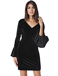 cheap -Women's Party Club Vintage Casual Sexy Street chic A Line Bodycon Sheath Dress,Solid Vintage V Neck Above Knee Long Sleeve Polyester