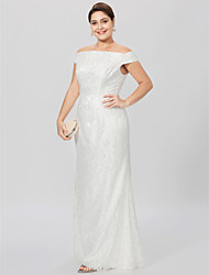 cheap -Sheath / Column Off Shoulder Floor Length All Over Lace Mother of the Bride Dress with Lace by LAN TING BRIDE®