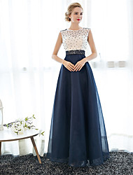 cheap -A-Line Illusion Neck Floor Length Tulle Over Lace Beautiful Back / See Through Prom / Formal Evening Dress with Beading by LAN TING Express