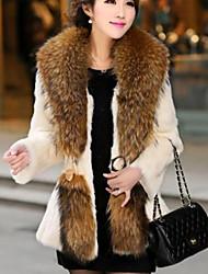 Недорогие -Для женщин На выход На каждый день Осень Зима Пальто с мехом Круглый вырез,Уличный стиль Однотонный Обычная Длинный рукав,Полиэстер