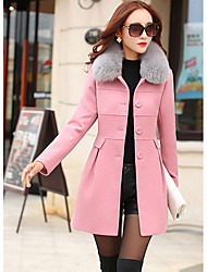 cheap -Women's Daily Street chic Winter Coat,Solid Shirt Collar Long Sleeves Regular Polyester Fur Trim