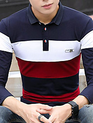 cheap -Men's Daily Street chic T-shirt,Color Block Shirt Collar Long Sleeves Cotton