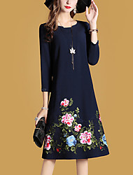 abordables -Femme Travail Chinoiserie Ample Robe Broderie
